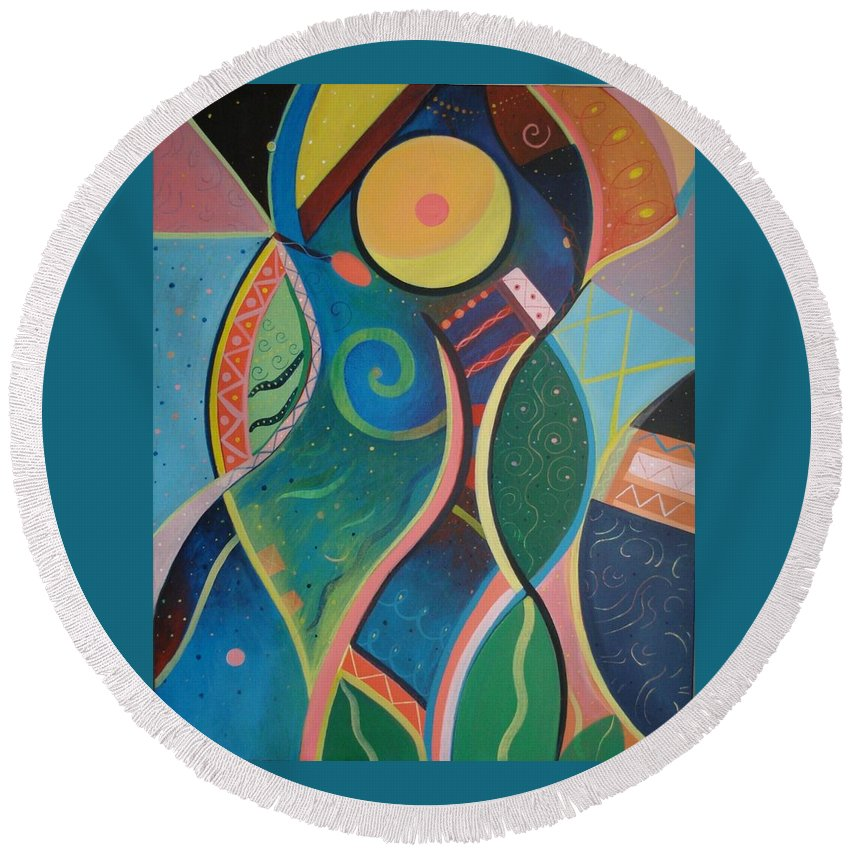 Abstract Round Beach Towel featuring the painting Cosmic Carnival V Aka The Dance by Helena Tiainen