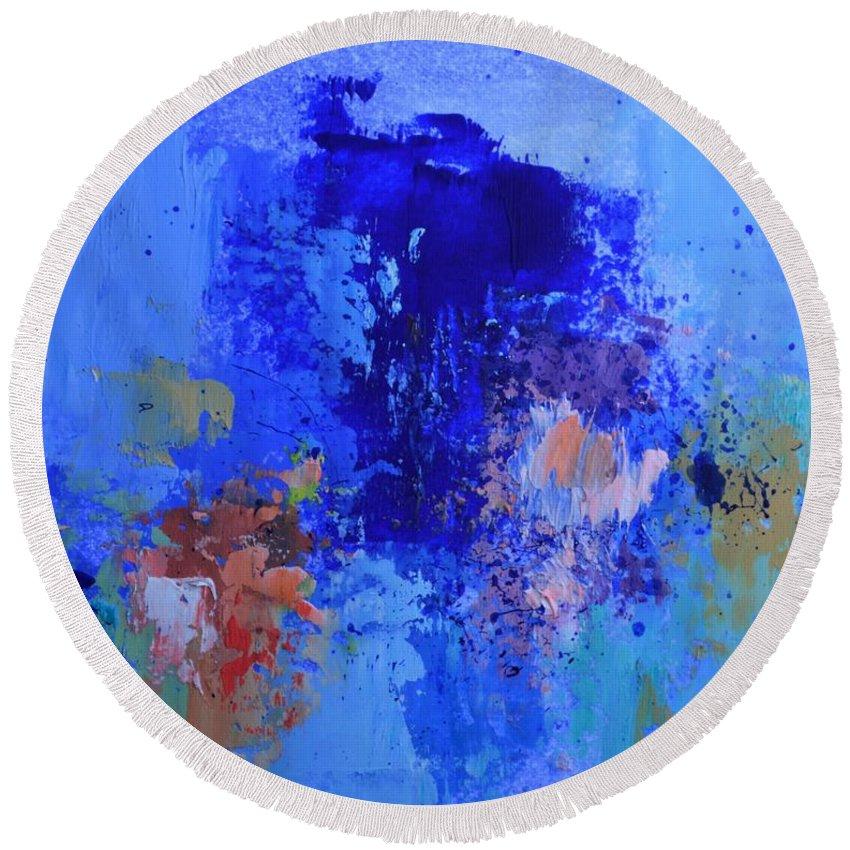 Cosmic Display Round Beach Towel featuring the painting Cosmic Display by Philip Jones