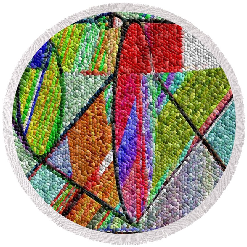 Life Round Beach Towel featuring the digital art Cosmic Lifeways Mosaic by Helmut Rottler