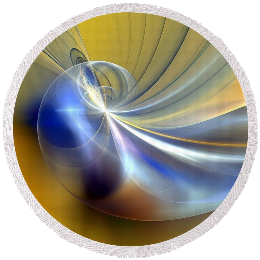 Digital Painting Round Beach Towel featuring the digital art Cosmic Shellgame by David Lane