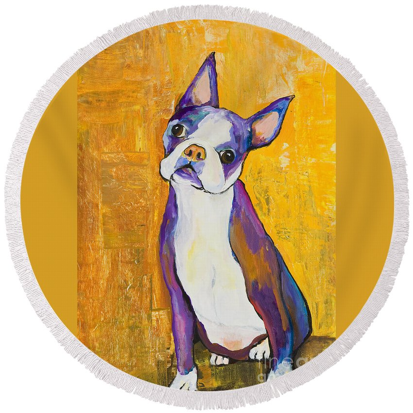 Boston Terrier Animals Acrylic Dog Portraits Pet Portraits Animal Portraits Pat Saunders-white Round Beach Towel featuring the painting Cosmo by Pat Saunders-White