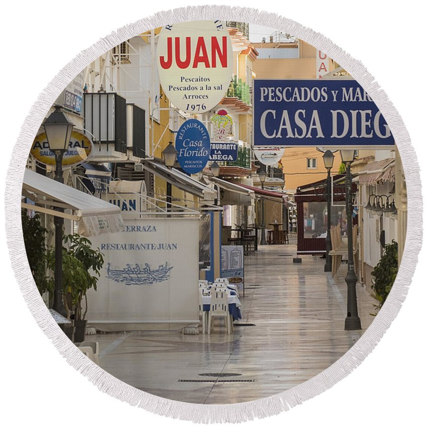 Costa Del Sol Round Beach Towel featuring the photograph Costa Del Sol  Spain by Jon Berghoff