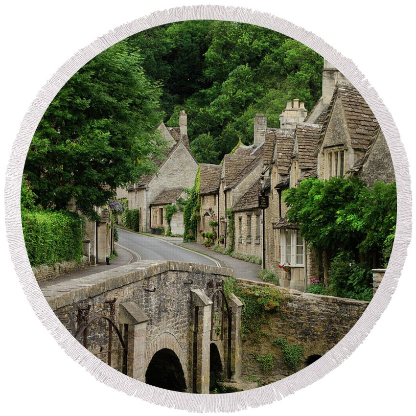 Cotswolds Round Beach Towel featuring the photograph Cotswolds Village Castle Combe by IPics Photography