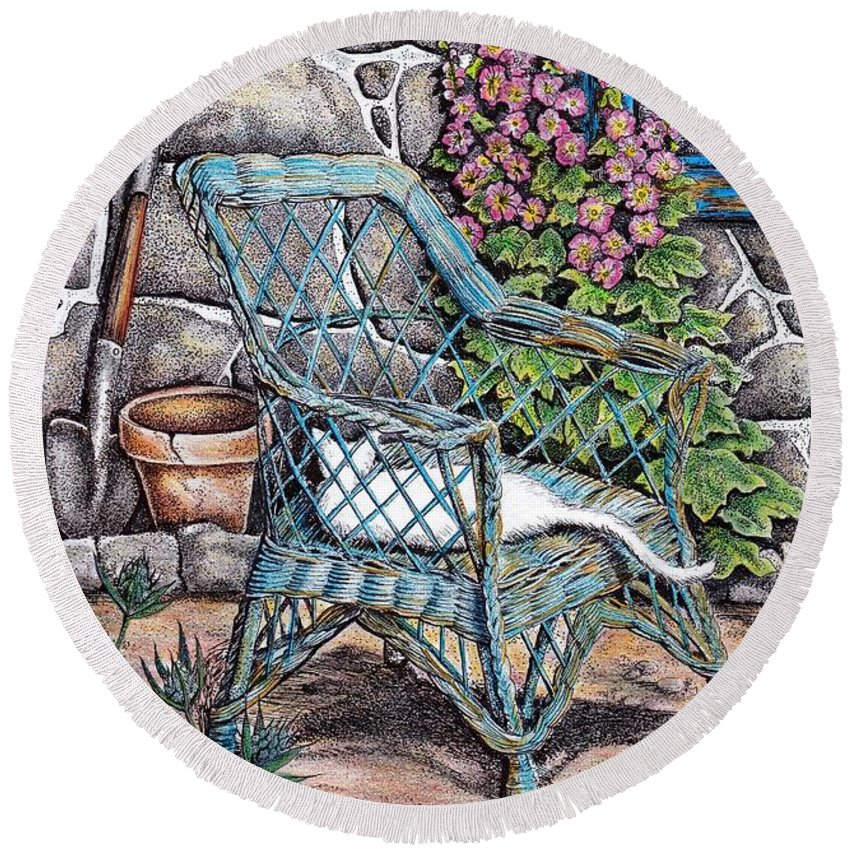 Garden Round Beach Towel featuring the drawing Cottage Garden by Angie Lilienthal
