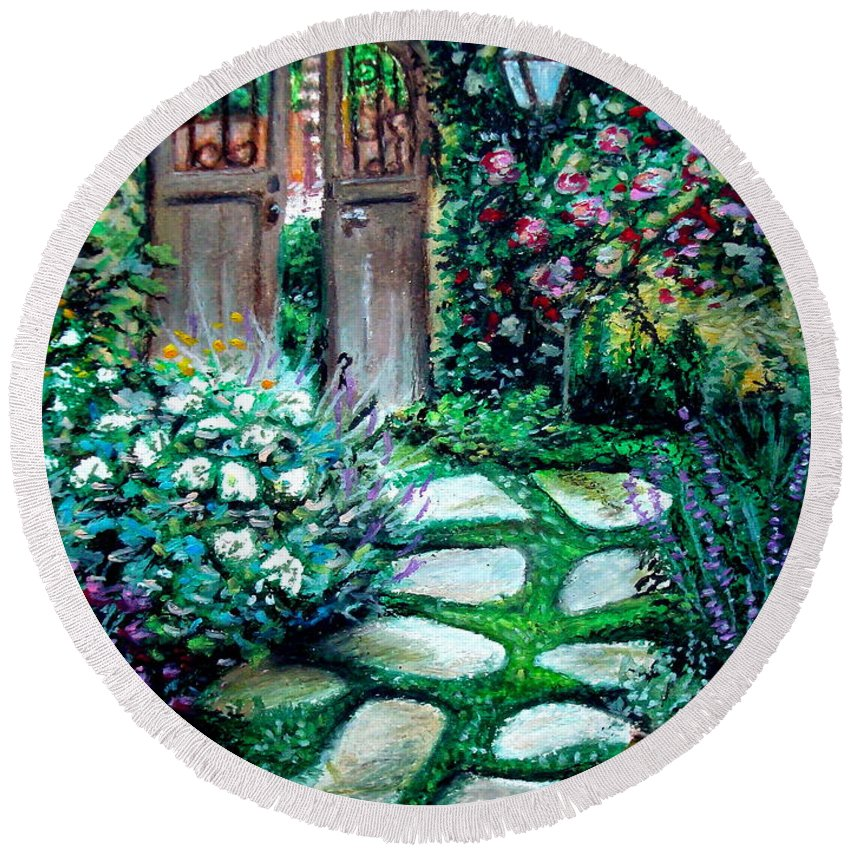 Landscape Round Beach Towel featuring the pastel Cottage Gates by Elizabeth Robinette Tyndall