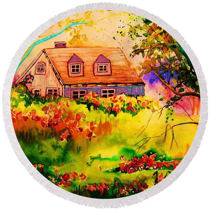 Maine Countryscene Round Beach Towel featuring the painting Cottage In Maine by Carole Spandau