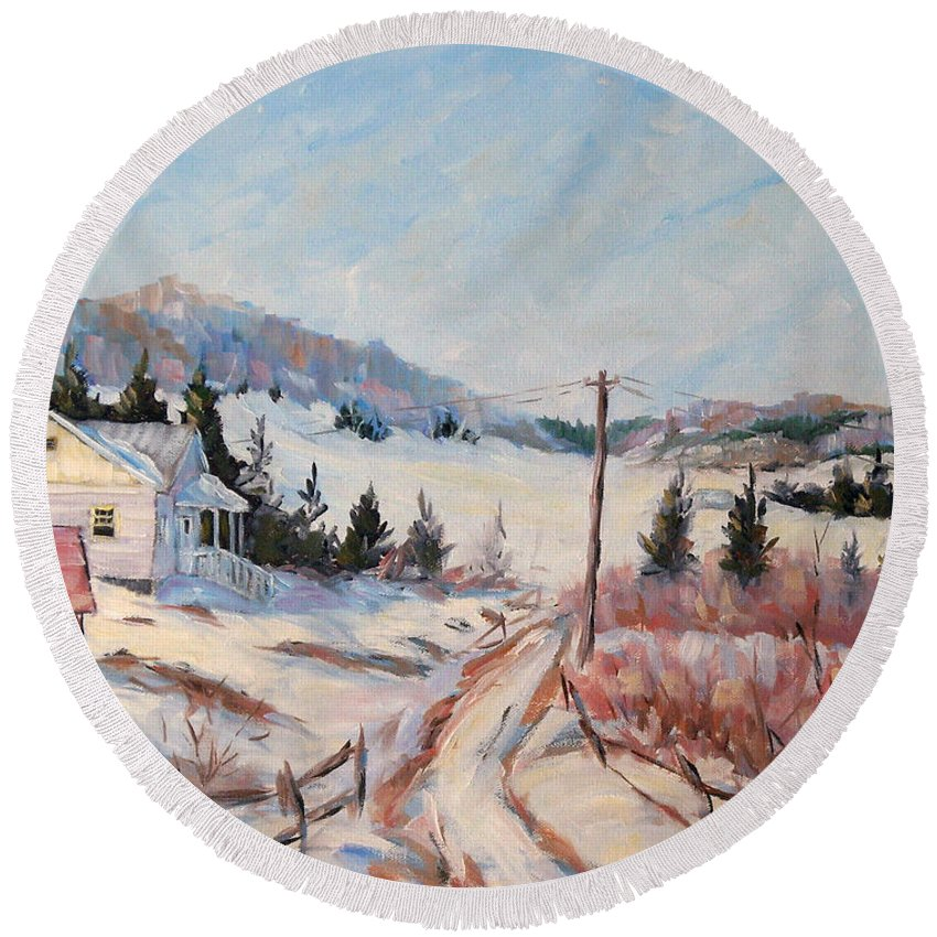 Road Round Beach Towel featuring the painting Cottage Road by Richard T Pranke