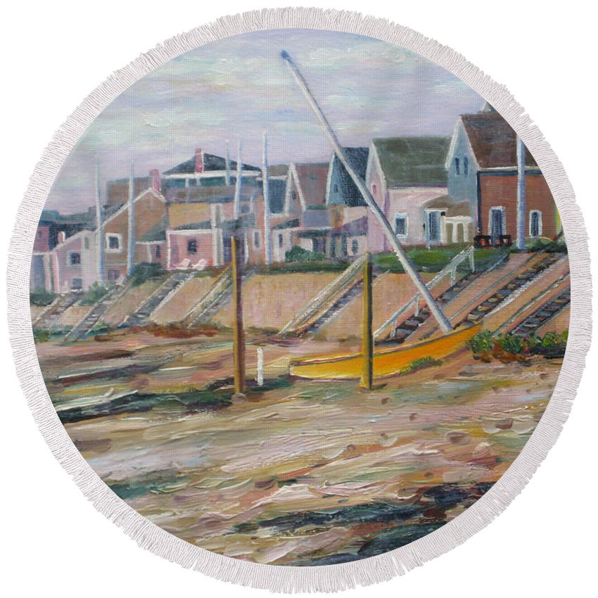 Beach Round Beach Towel featuring the painting Cottages Along Moody Beach by Richard Nowak
