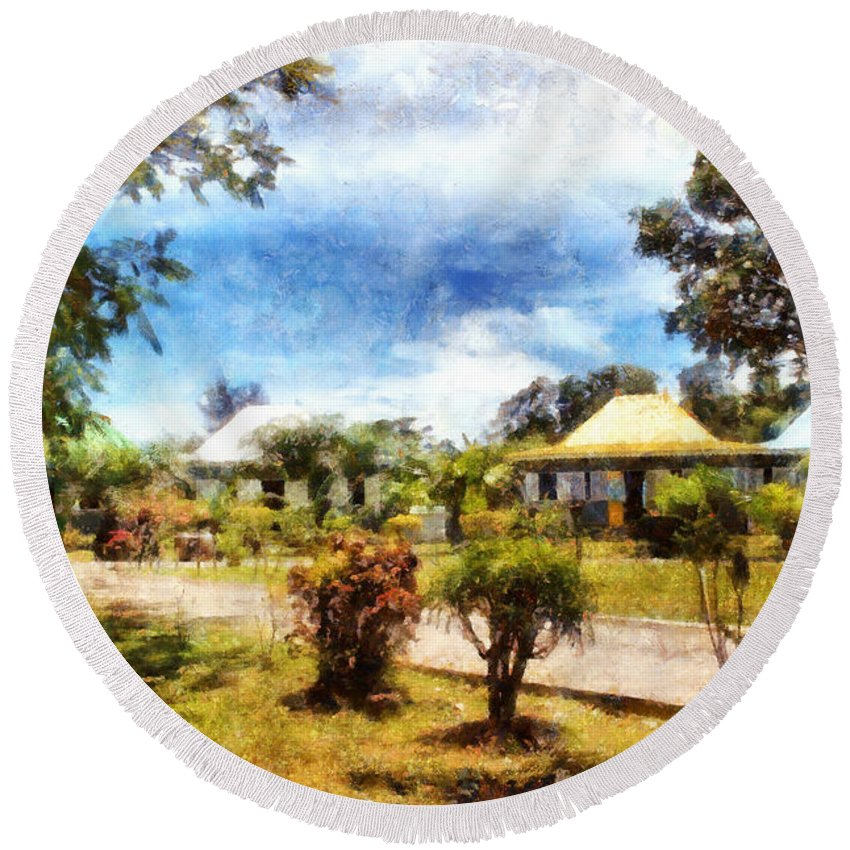 Vacation Round Beach Towel featuring the photograph Cottages In A Landscape by Ashish Agarwal