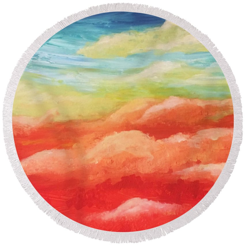 Round Beach Towel featuring the painting Cotton Candy Dreams by Sara Sadat