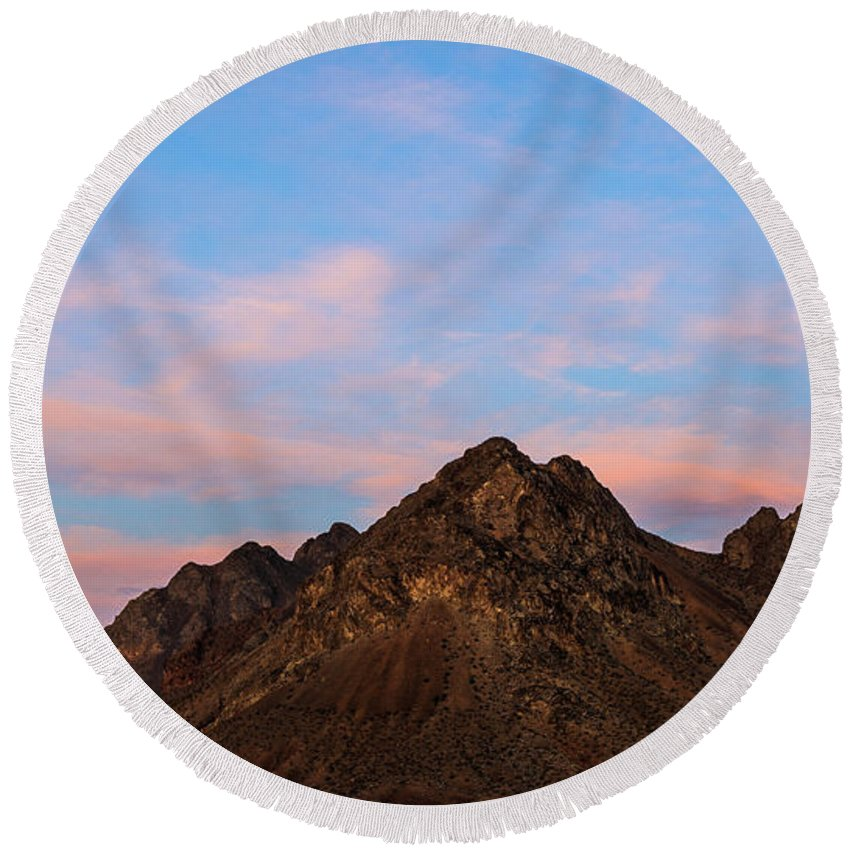 James Marvin Phelps Photography Round Beach Towel featuring the photograph Cotton Candy Sky by James Marvin Phelps