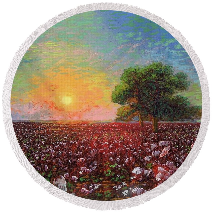 Meadow Round Beach Towel featuring the painting Cotton Field Sunset by Jane Small