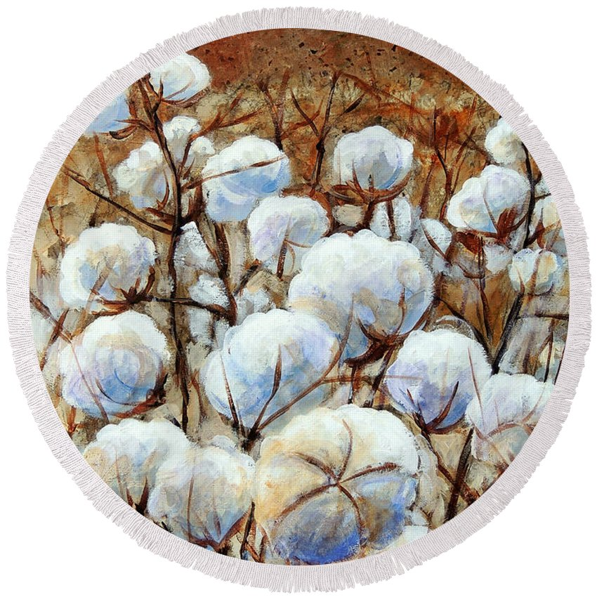 Landscape Round Beach Towel featuring the painting Cotton Fields by Candy Mayer