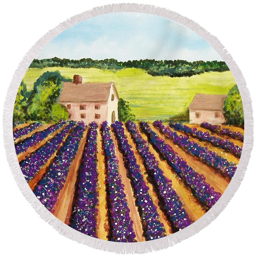 Landscape Round Beach Towel featuring the painting Cotton Fields by Lee Owenby