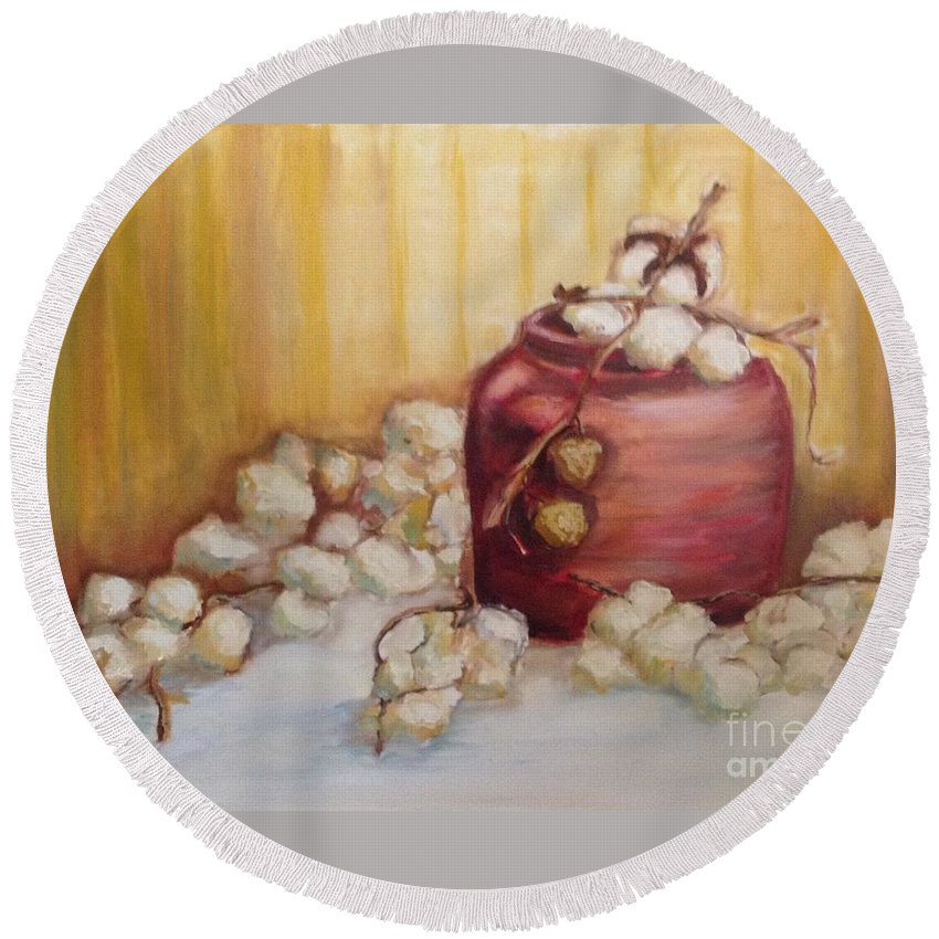 Red Round Beach Towel featuring the painting Cotton Plant by Leslie Dobbins