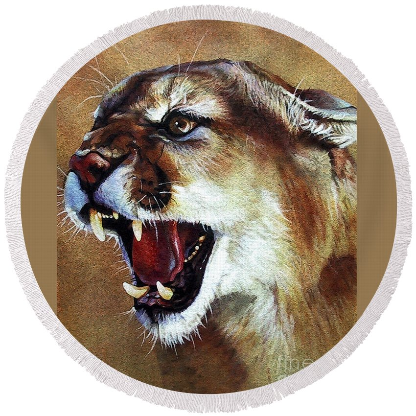 Southwest Art Round Beach Towel featuring the painting Cougar by J W Baker