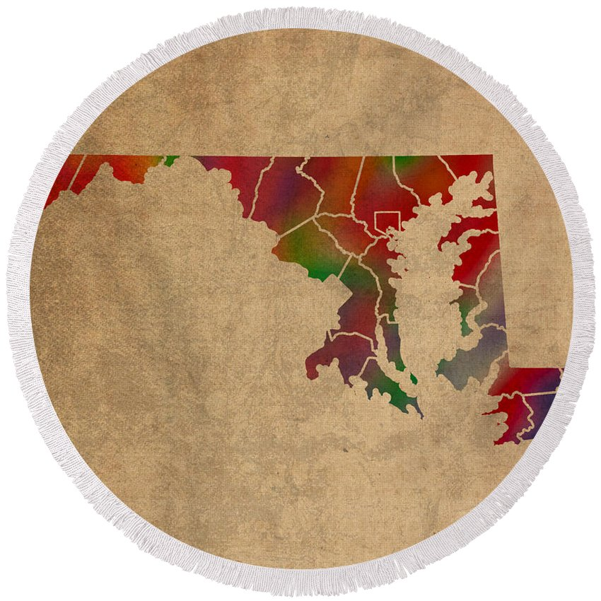 Counties Round Beach Towel featuring the mixed media Counties Of Maryland Colorful Vibrant Watercolor State Map On Old Canvas by Design Turnpike