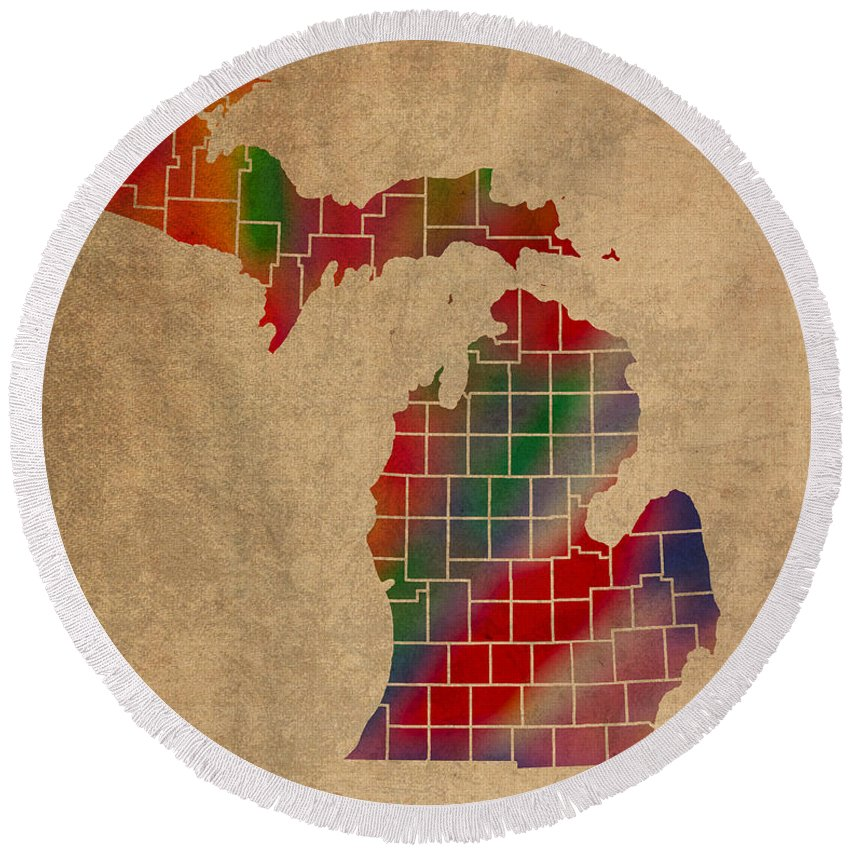Counties Round Beach Towel featuring the mixed media Counties Of Michigan Colorful Vibrant Watercolor State Map On Old Canvas by Design Turnpike