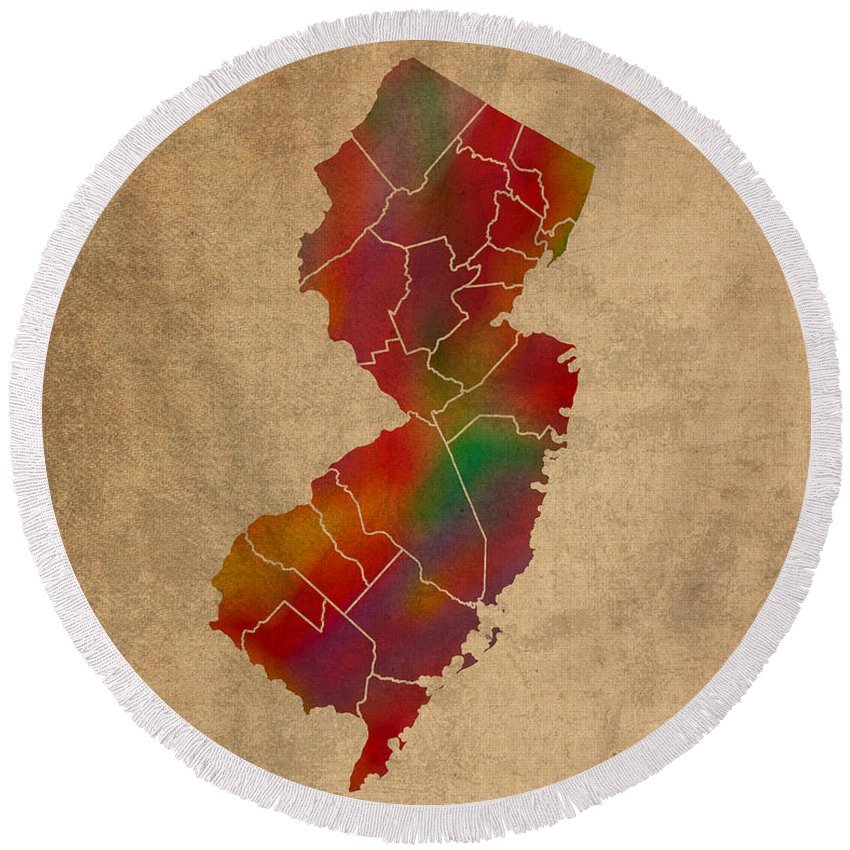 Counties Round Beach Towel featuring the mixed media Counties Of New Jersey Colorful Vibrant Watercolor State Map On Old Canvas by Design Turnpike