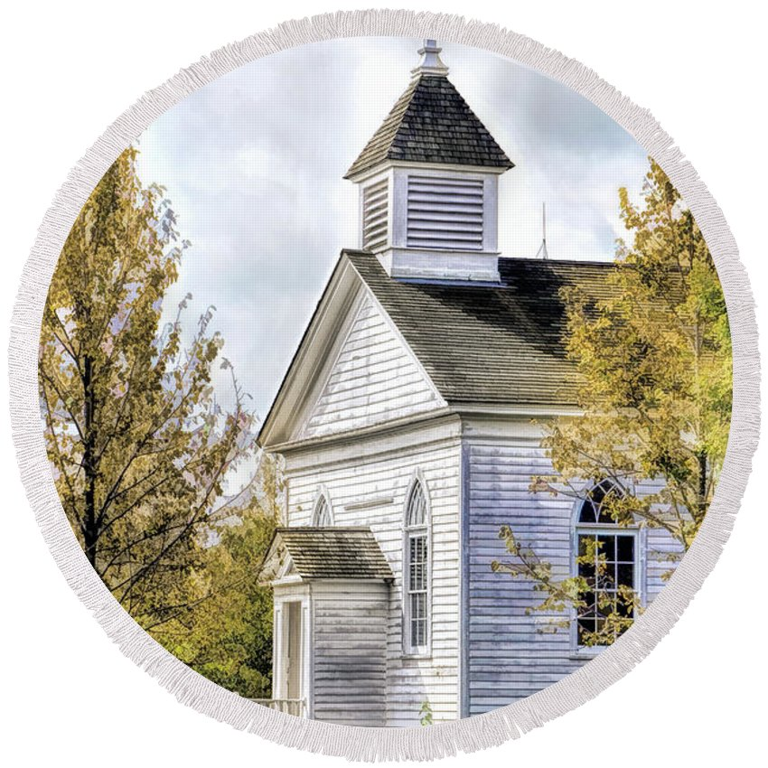 Old World Wisconsin Round Beach Towel featuring the painting Country Church At Old World Wisconsin by Christopher Arndt