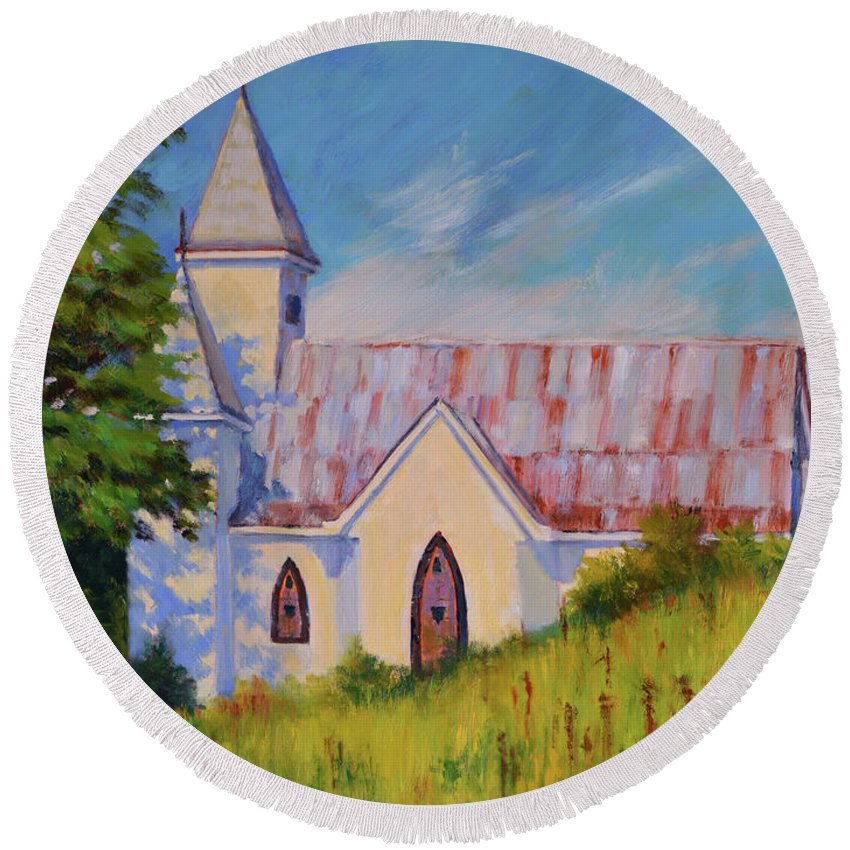 Impressionism Round Beach Towel featuring the painting Country Church by Keith Burgess