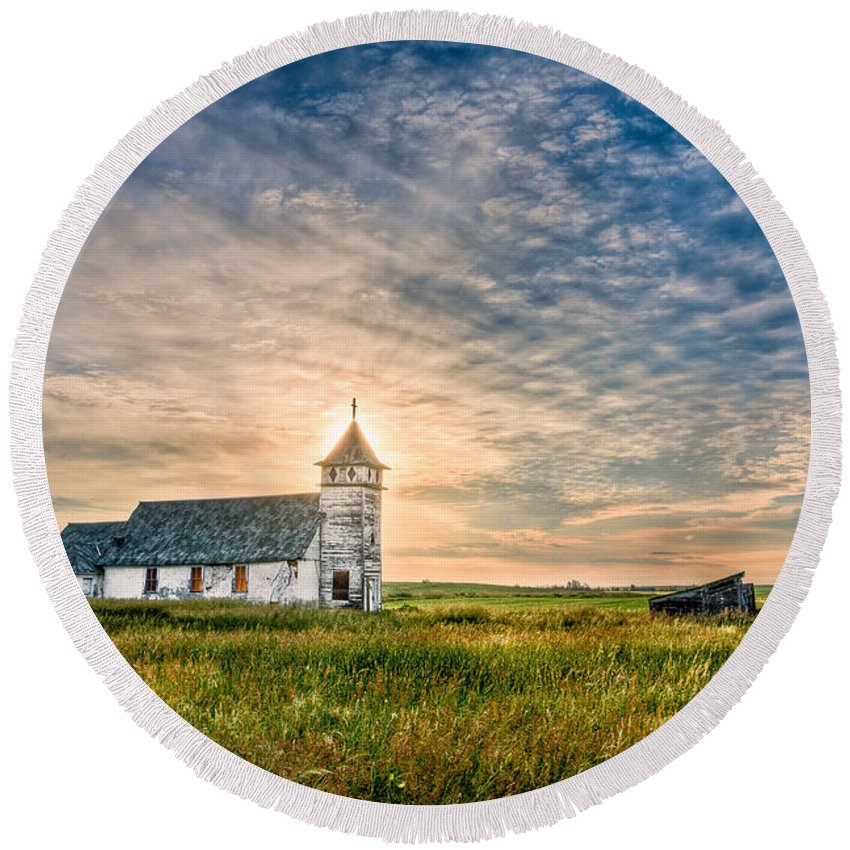 Buildings Round Beach Towel featuring the photograph Country Church Sunrise by Rikk Flohr