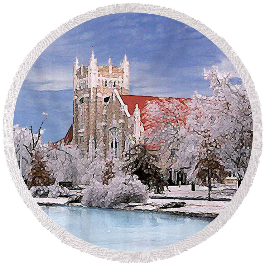 Winter Round Beach Towel featuring the photograph Country Club Christian Church by Steve Karol