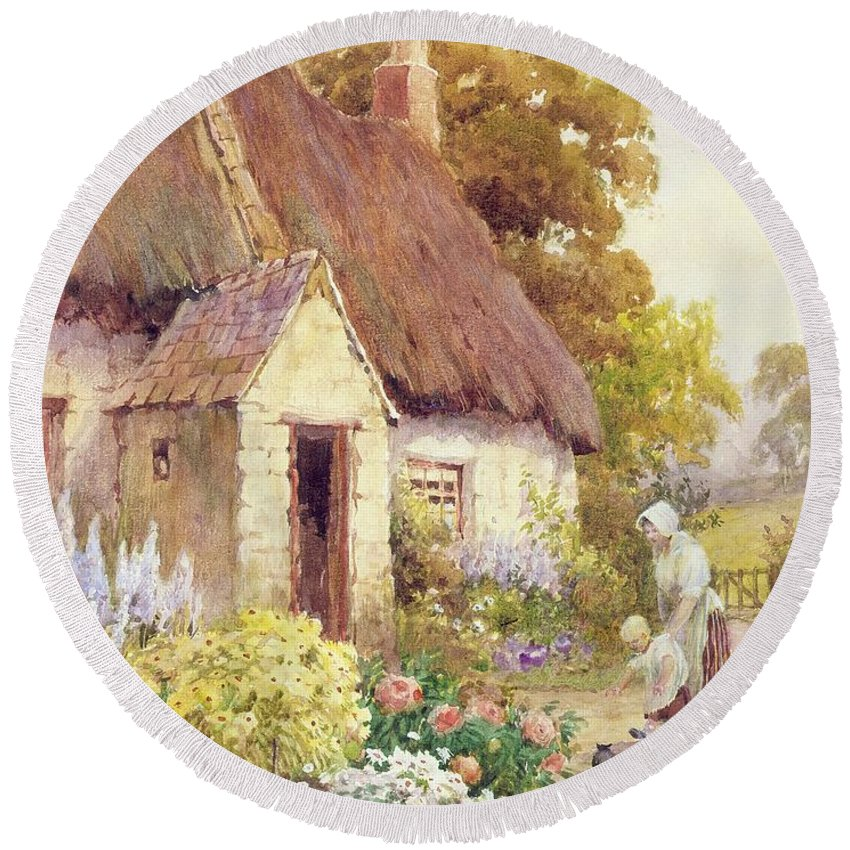 Country Round Beach Towel featuring the painting Country Cottage by Joshua Fisher