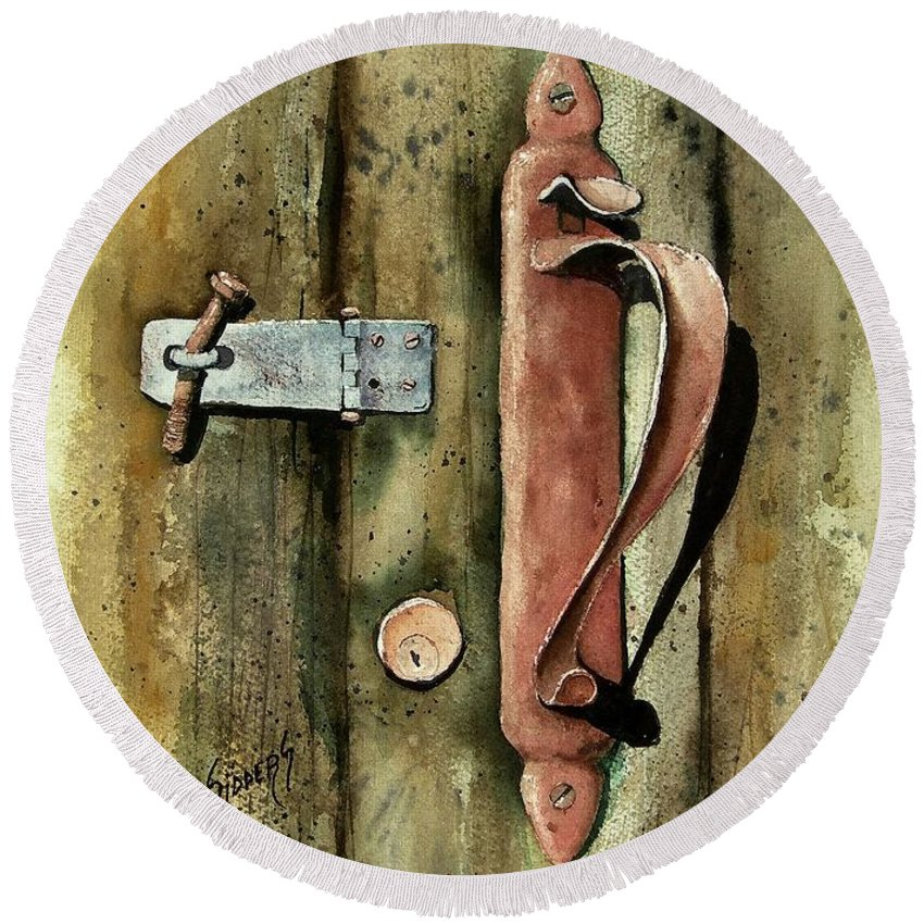 Rust Round Beach Towel featuring the painting Country Door Lock by Sam Sidders