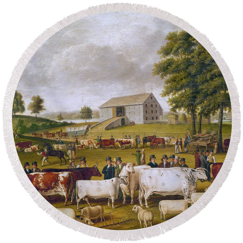 1824 Round Beach Towel featuring the photograph Country Fair, 1824. For Licensing Requests Visit Granger.com by Granger