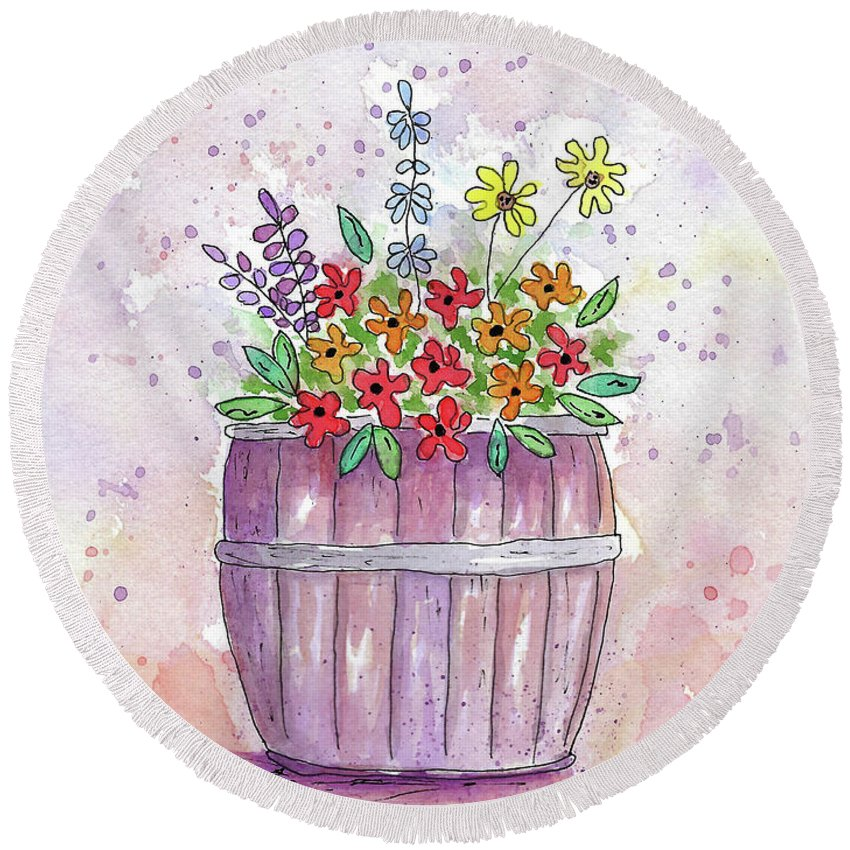 Watercolor And Ink Round Beach Towel featuring the painting Country Flowers by Susan Campbell