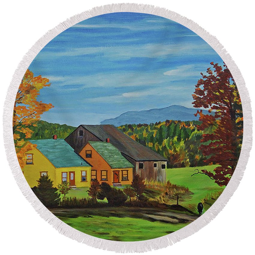 Country Round Beach Towel featuring the photograph Country Home by Rich Walter