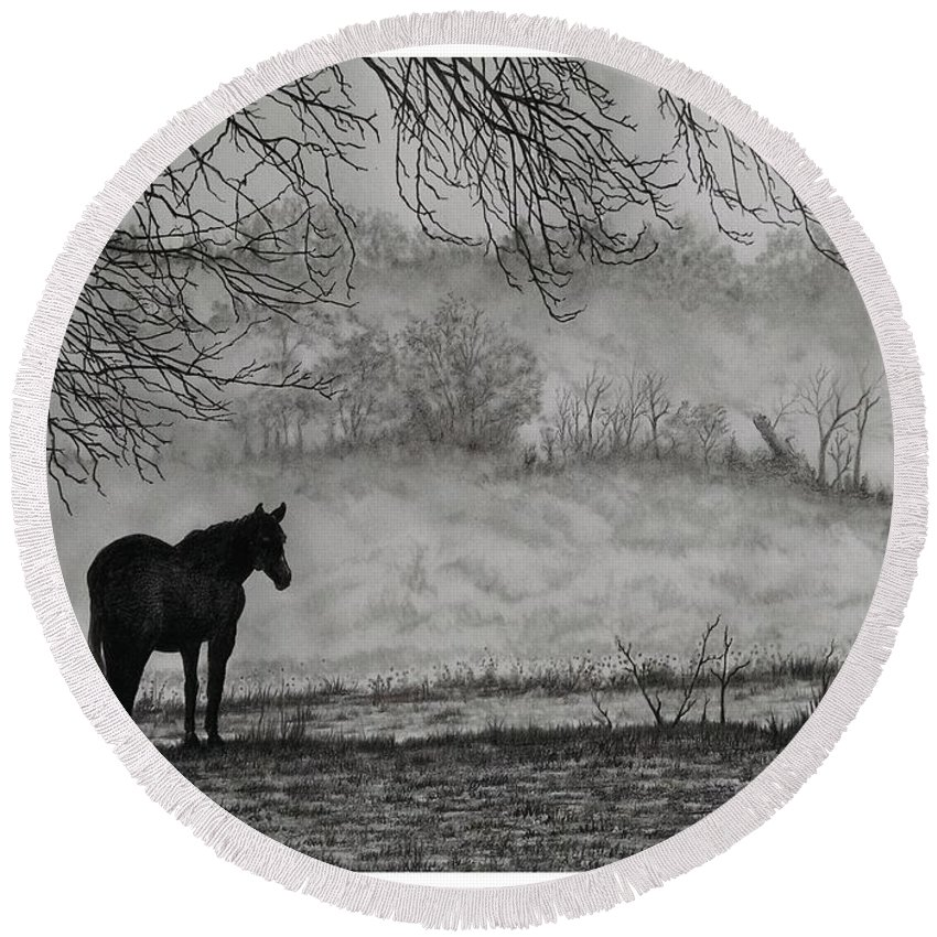 Pencil Round Beach Towel featuring the drawing Country Horse by Murphy Elliott