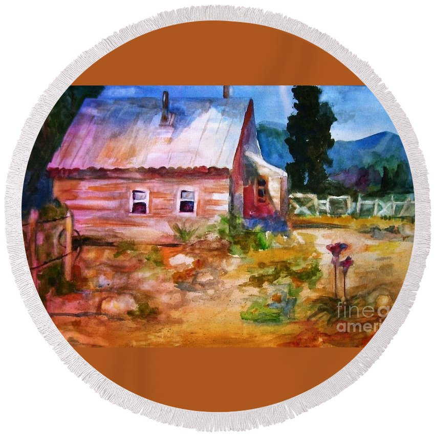 Cottage Round Beach Towel featuring the painting Country House by Frances Marino