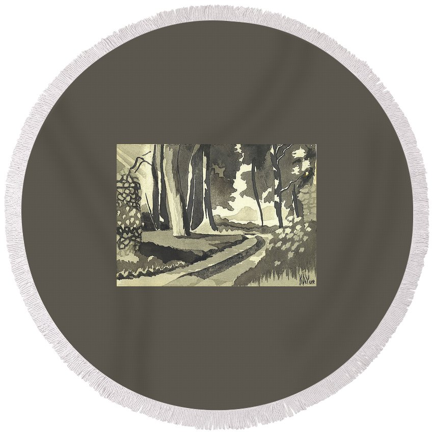Rural Round Beach Towel featuring the painting Country Lane In Evening Shadow by Kip DeVore