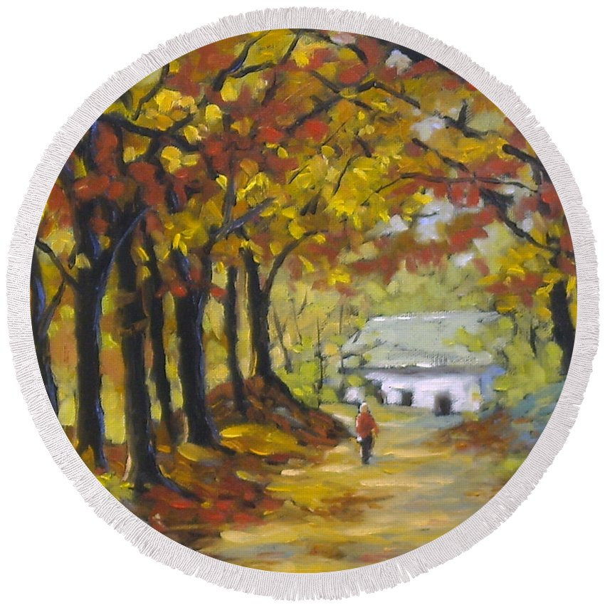 Art Round Beach Towel featuring the painting Country Lane by Richard T Pranke