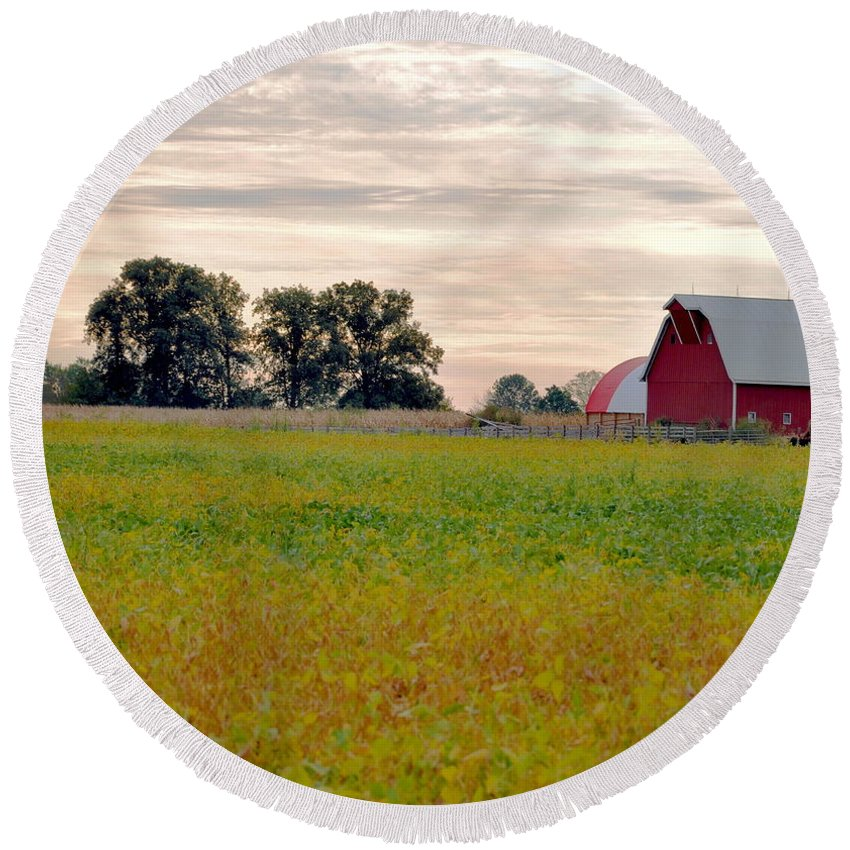 Barn Round Beach Towel featuring the photograph Country Living by Brittany Horton