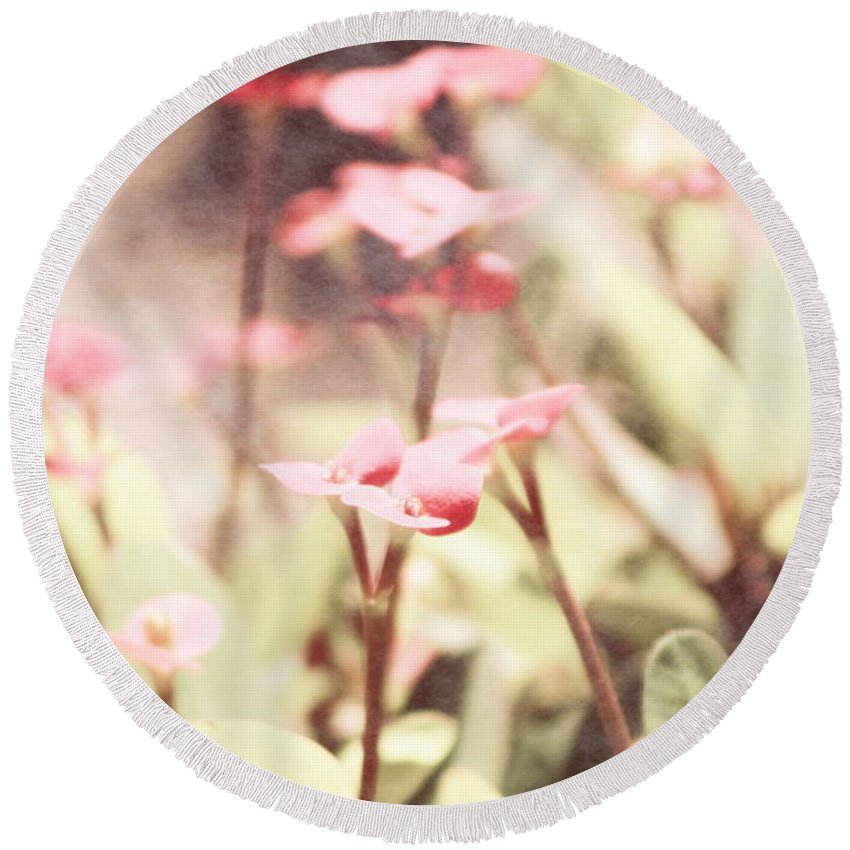 Prism Pink Round Beach Towel featuring the photograph Country Memories in Prism Pink by Colleen Cornelius