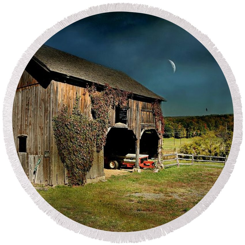 Barn Round Beach Towel featuring the photograph Country Moves by Diana Angstadt