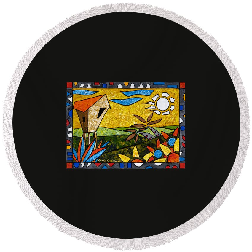 Puerto Rico Round Beach Towel featuring the painting Country Peace by Oscar Ortiz