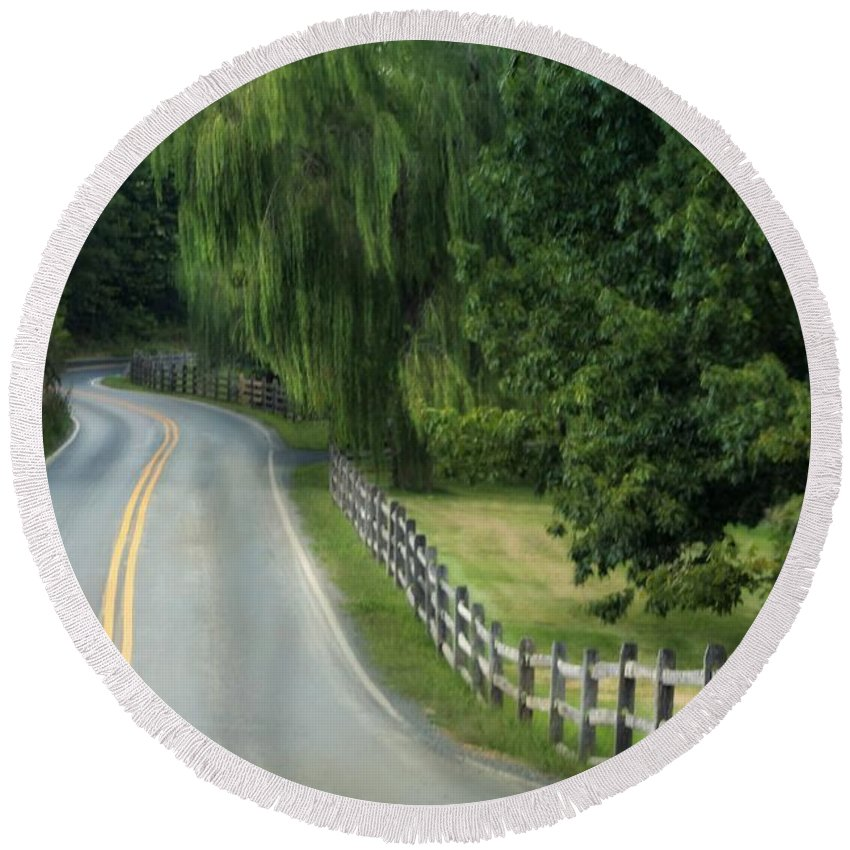 Country Road. Landscape Round Beach Towel featuring the photograph Country Road by Beth Ferris Sale