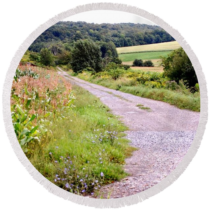 Old Barn Round Beach Towel featuring the photograph Country Road by David Lane