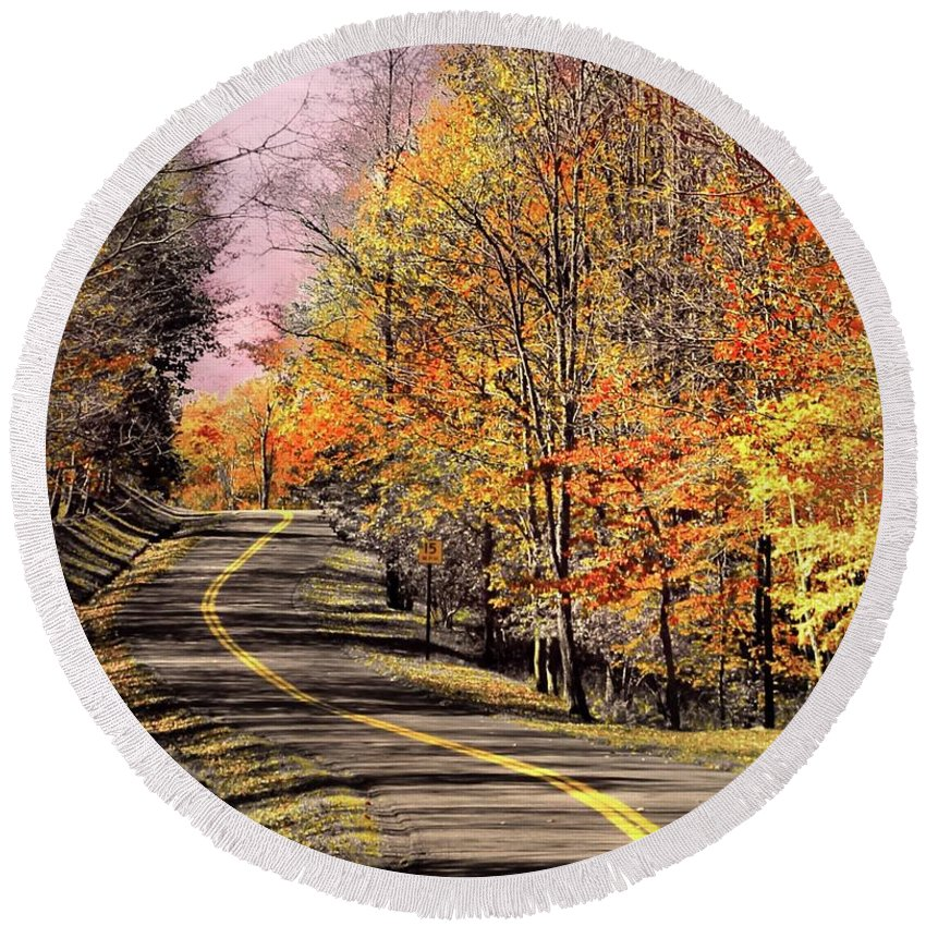 Fall Round Beach Towel featuring the photograph Country Road In Autumn by Michael Forte