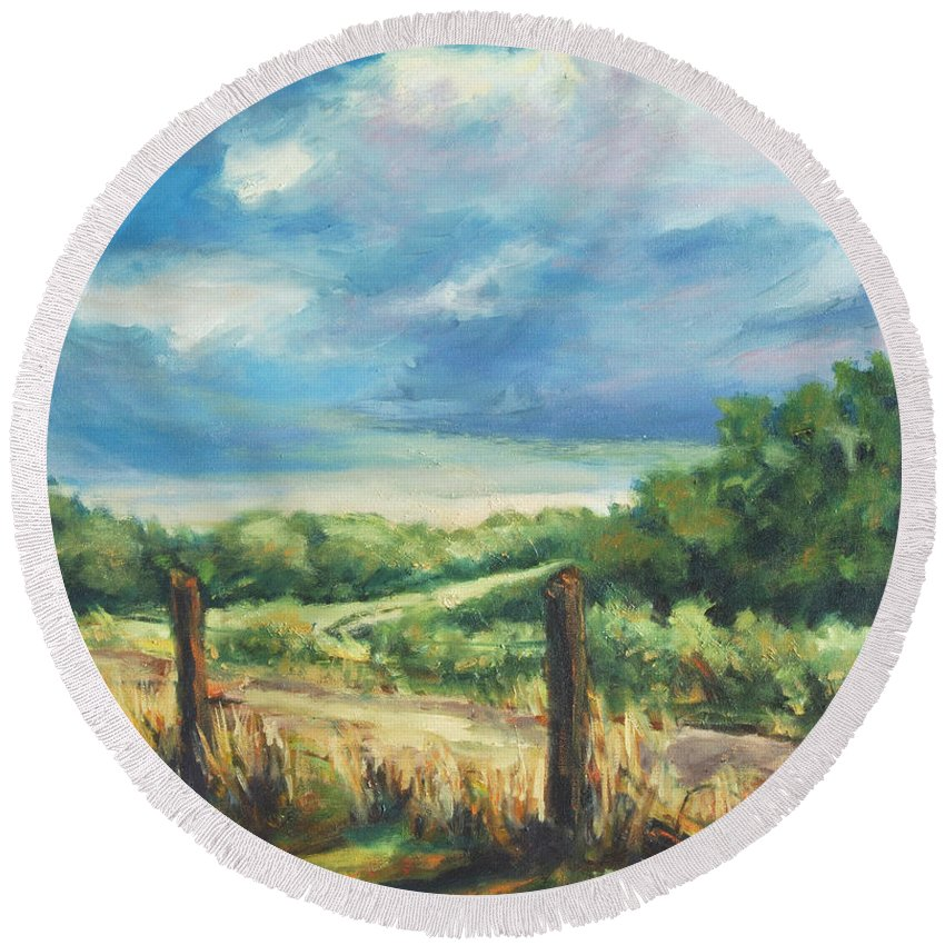 Clouds Round Beach Towel featuring the painting Country Road by Rick Nederlof