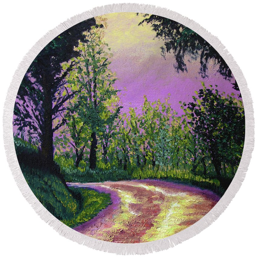 Landscape Round Beach Towel featuring the painting Country Road by Stan Hamilton