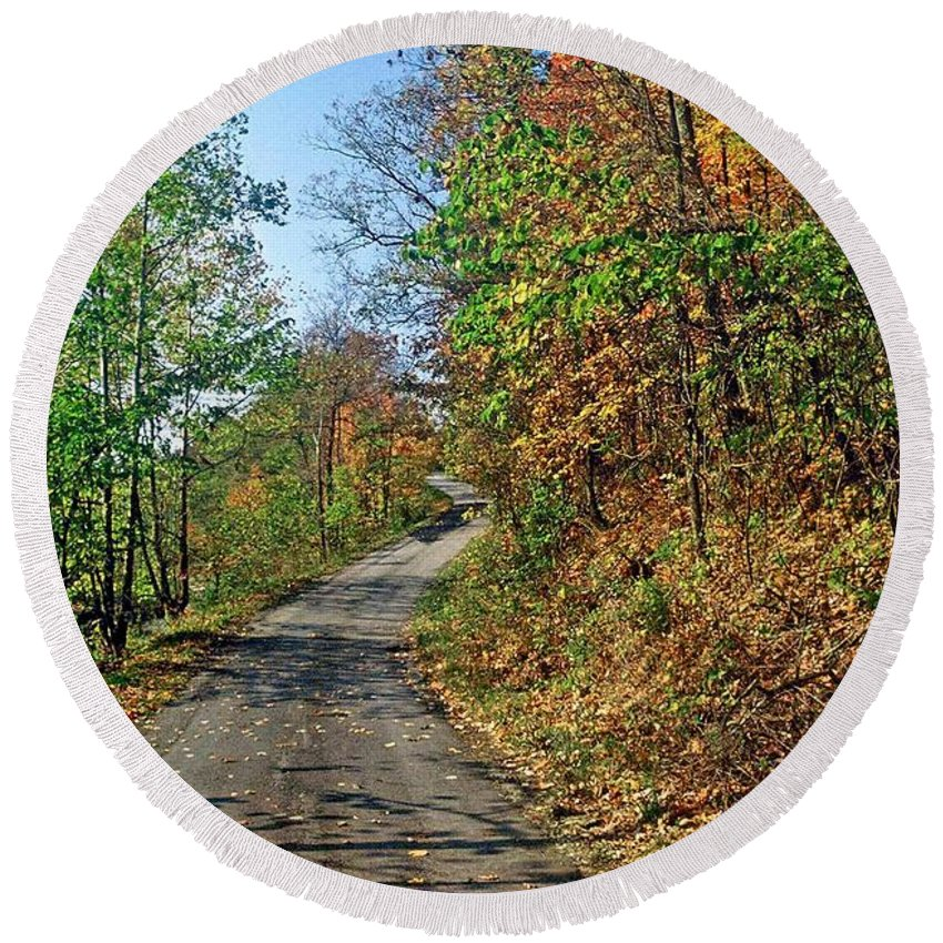 Autumn Scene Round Beach Towel featuring the photograph Country Roads by Gary Wonning