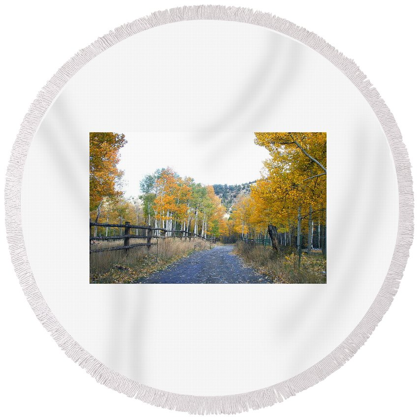 Autumn Round Beach Towel featuring the digital art Country Roads by Joe Schanzer