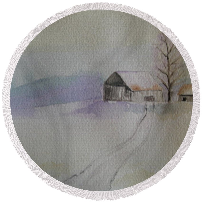 Barn Snow Winter Tree Landscape Cold Round Beach Towel featuring the painting Country Snow by Patricia Caldwell
