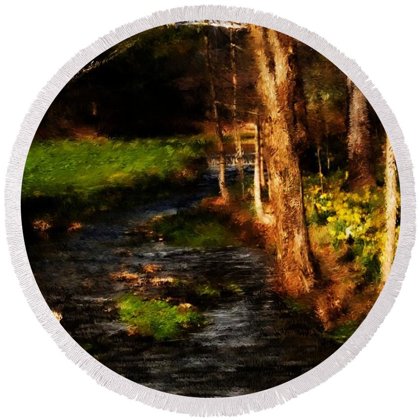 Digital Photo Round Beach Towel featuring the photograph Country Stream by David Lane