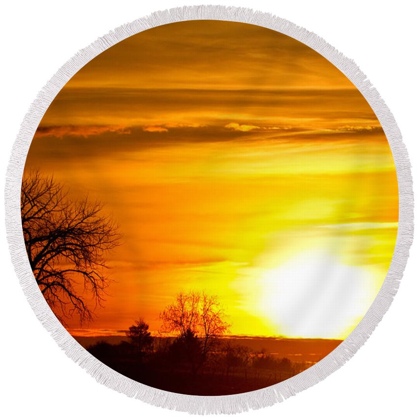 canvas Print Round Beach Towel featuring the photograph Country Sunrise 1-27-11 by James BO Insogna